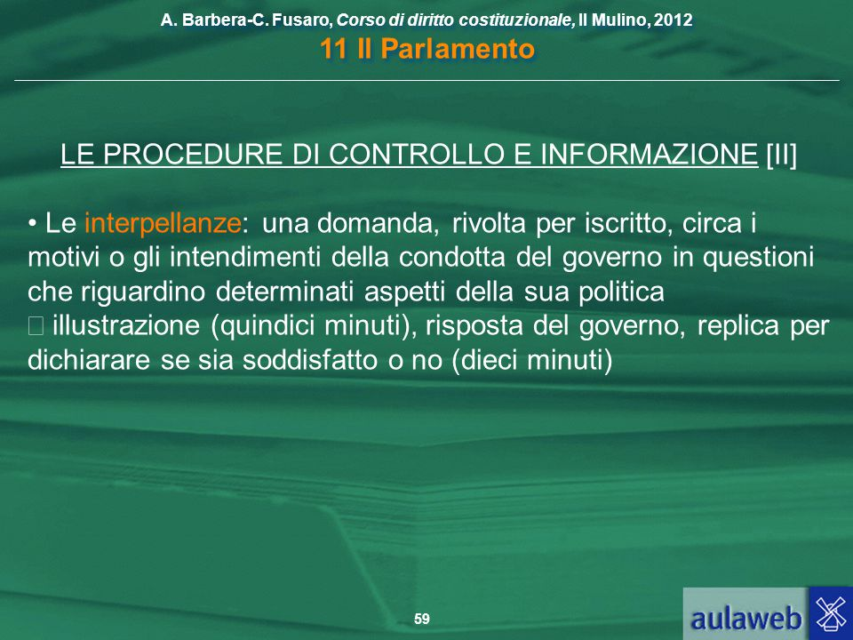 LE PROCEDURE DI CONTROLLO E INFORMAZIONE [II]